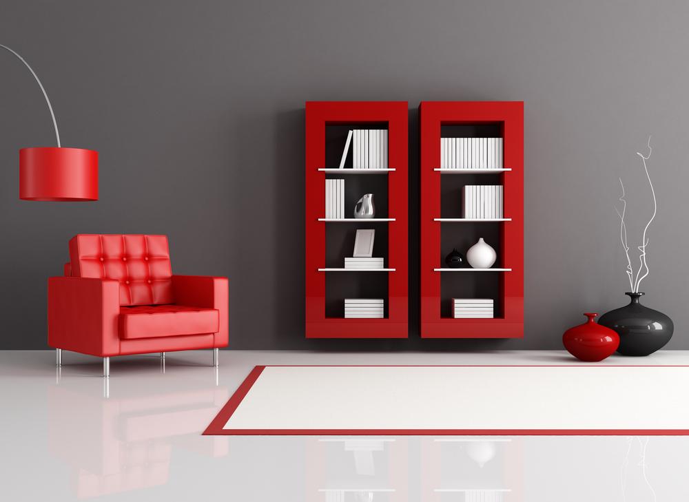 Kırmızı detaylı oturma odası