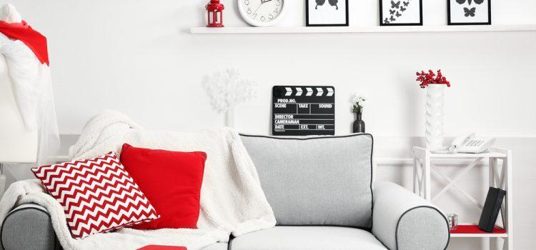 Kırmızı Detaylı Oturma Odası Tasarımları